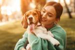 Un chien heureux dans les bras de sa maîtresse
